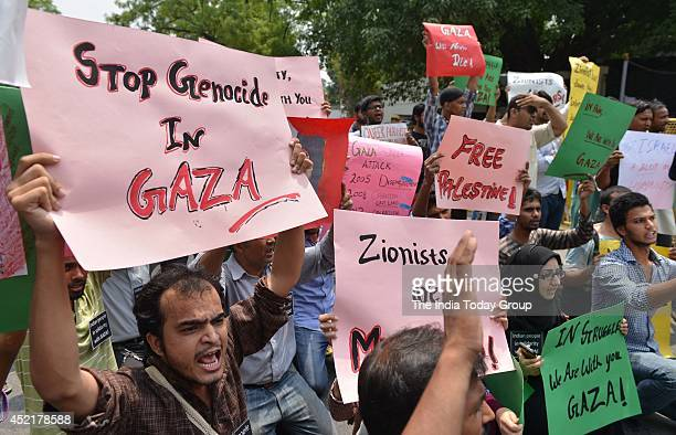 Group of Indian citizens protesting in front of Israeli embassy New Delhi to demand an immediate end to the barbaric attack in Gaza