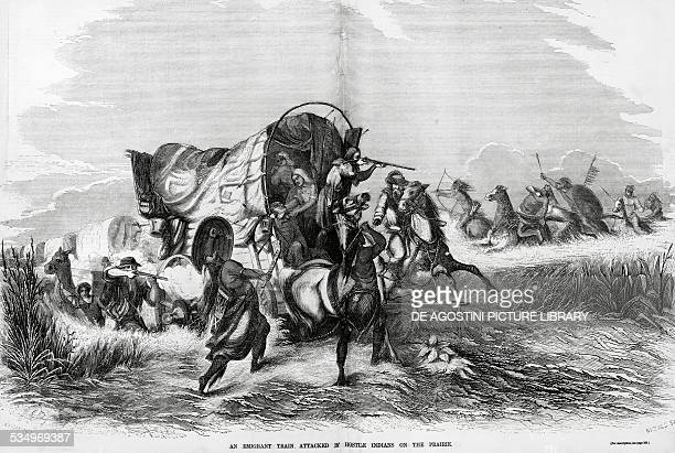 A group of Indians attacking a caravan of pioneers engraving United States of America 19th century