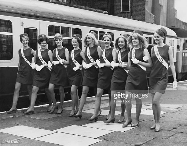 A group of 'InterCity Girls' employed by British Rail to deal with passenger enquiries as part of the company's latest marketing campaign for...