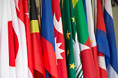 row of colorful Asia Pacific and southeast asia International Flag