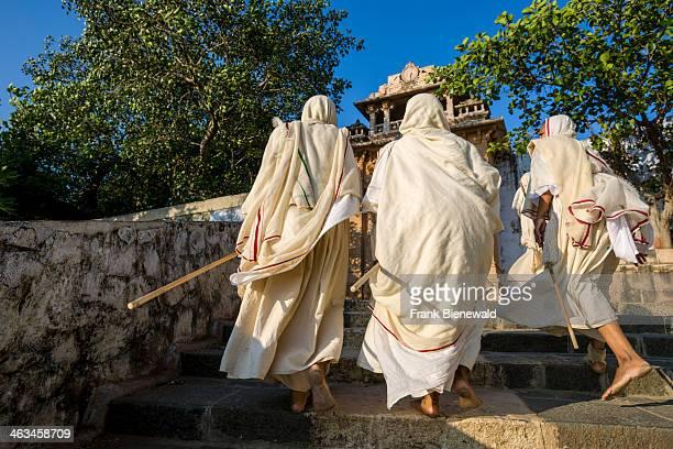 A group of Jain nuns are walking the 3500 steps up to Shatrunjaya hill Shatrunjaya is one of the major pilgrim sites for Jains