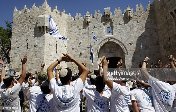 A group of Jewish settlers forced their way into AlAqsa Mosque compound in occupied East Jerusalem as they mark 'Jerusalem Day' in Jerusalem on May...