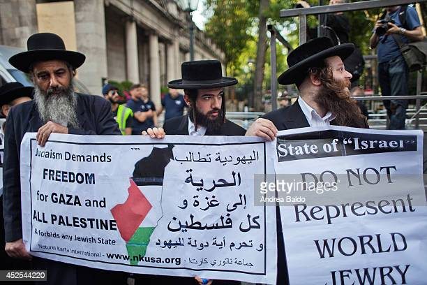 A group of Jews support the demonstration outside the Israeli embassy Thousands of Palestine supporters and Palestinians themselves protest outside...