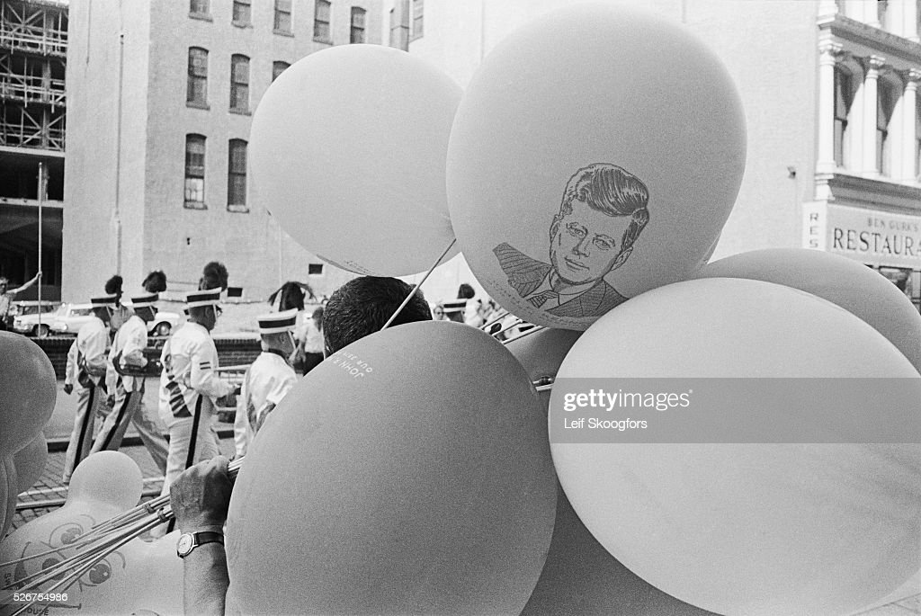 A group of John F Kennedy balloons at the American Legion parade during the Philadelphia Convention This parade was watched my many United States...