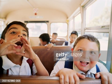 Group of kids (6-8) having fun on school, portrait : Stock Photo