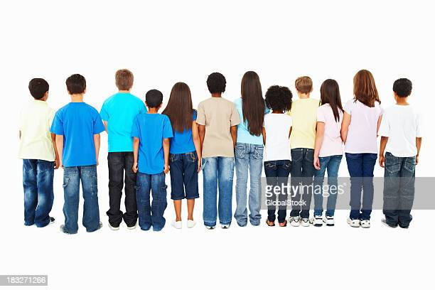 group of kids Ignoring you - turning their back