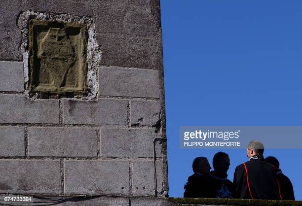 A group of Knights of Malta chat on a terrace of the Order's Villa Magistrale in Rome before the election of the new Grand Master on April 29 2017...
