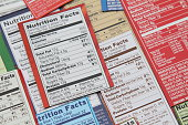 Various nutrition labels for a variety of packaged food products. Labels show calories, fat content, cholesterol, carbohydrates, protein, sodium, sugars, daily recommended litmits, vitamins and specfi