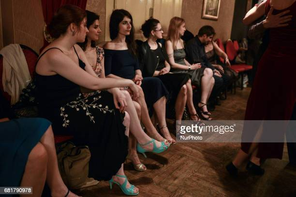 A group of ladies awaiting for their partners to dance Argentine tango during an afterparty event in Klub Cabaret an event that was a part of Krakus...