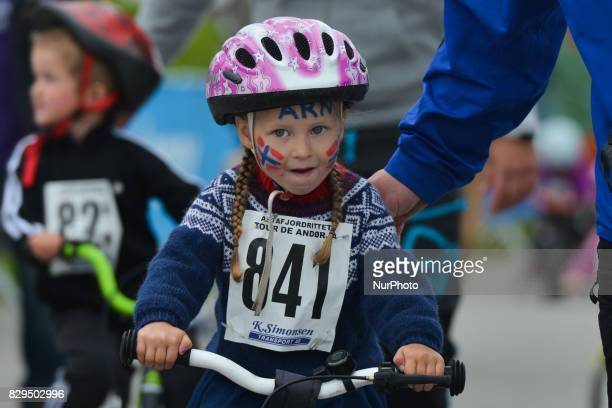 A group of local children from Andorja Island compete during a 500m race on the opening day of Arctic Race of Norway 2017 On Thursday August 10 in...