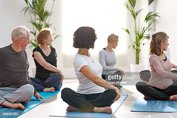 Group of mature people practicing yoga