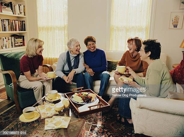Group of mature women in living room, laughing