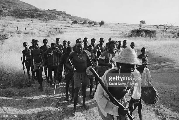 A group of men and boys from Shawia village in the Nuba Mountains of Kordofan in central Sudan 11th November 1995