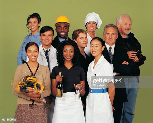 Group of men and women from different professions, smiling