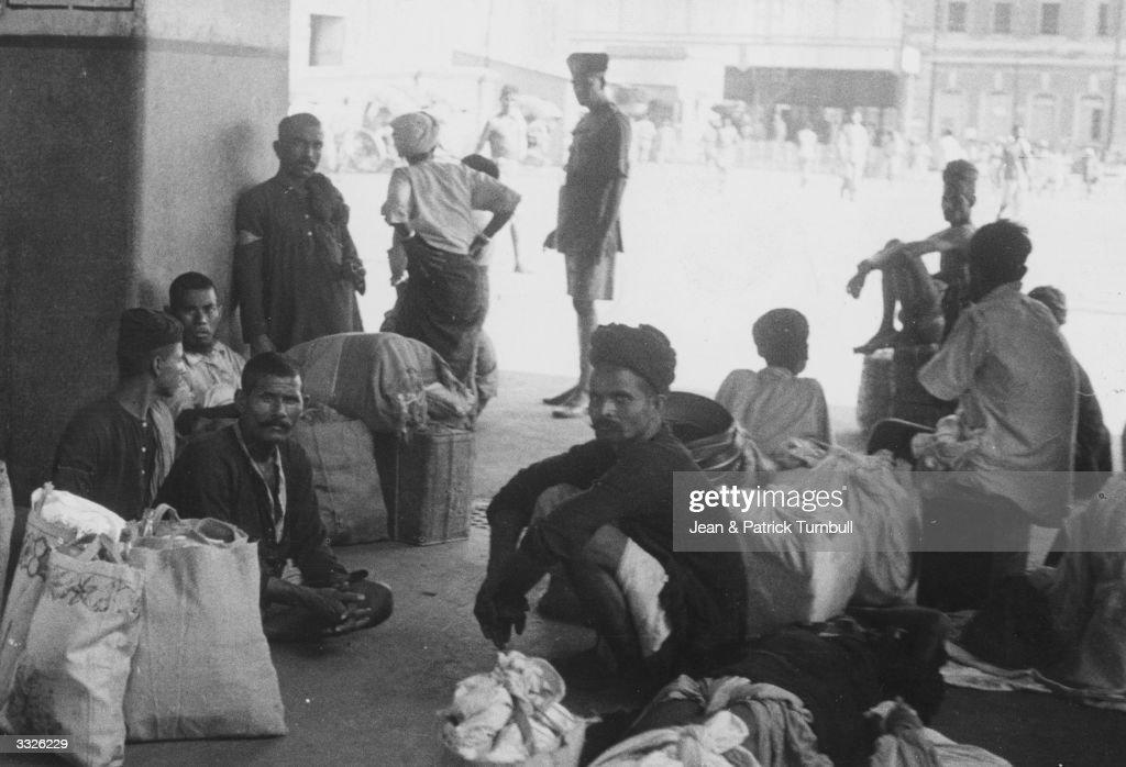 A group of men at Sealdah Railway Station in Calcutta.