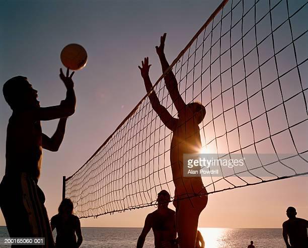 Group of men playing beach volleyball, sunspot through net