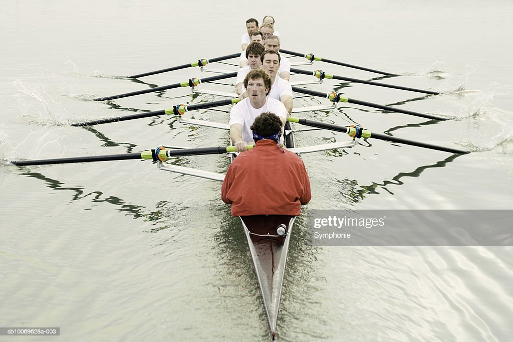 Group of men rowing, elevated view