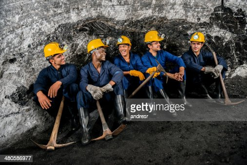 Group of miners taking a break
