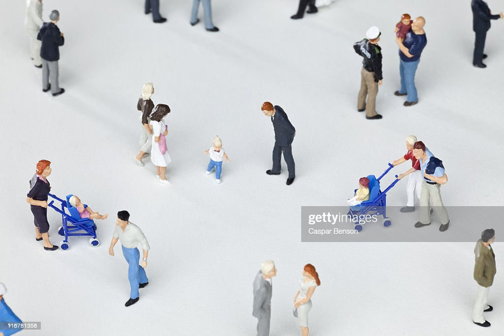 A group of miniature figurines