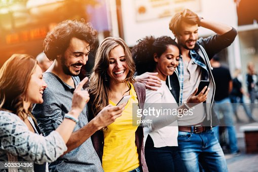 Group of mixed race people and social network concept