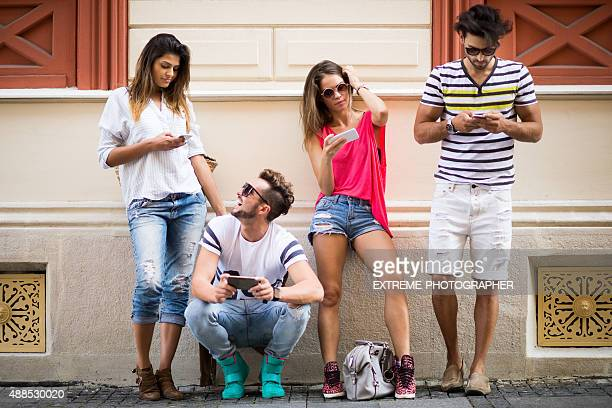 Group of mobile users in the city