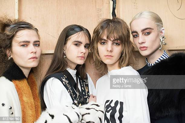 A group of models are seen backstage prior to the Toga show on day 5 of London Fashion Week Autumn Winter 2016 at BFC Showspace on February 23 2016...