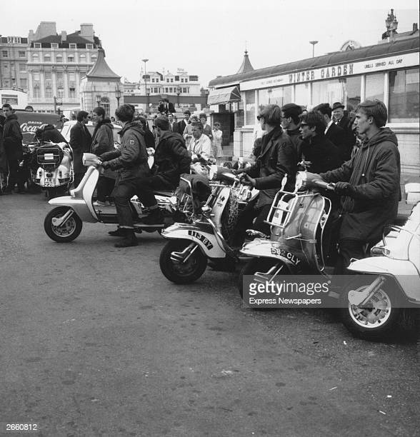 A group of mods on their scooters