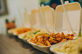 Group of more pasta and spaghetti packages. Fast food dinner and lunch restaurant bar