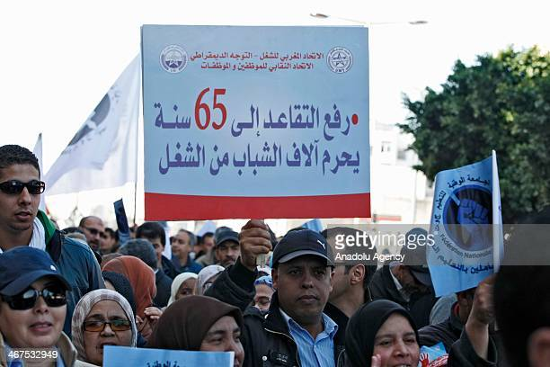 A group of Moroccan people demanding pay raise and adjustments on individual pension system on February 7 2014 in Rabat Morocco