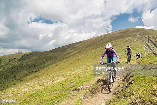 Group of mountainbiker at Carinthian pastures, Austria