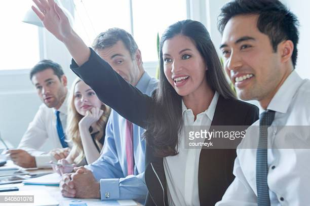 Group of multi ethnic business people smiling.