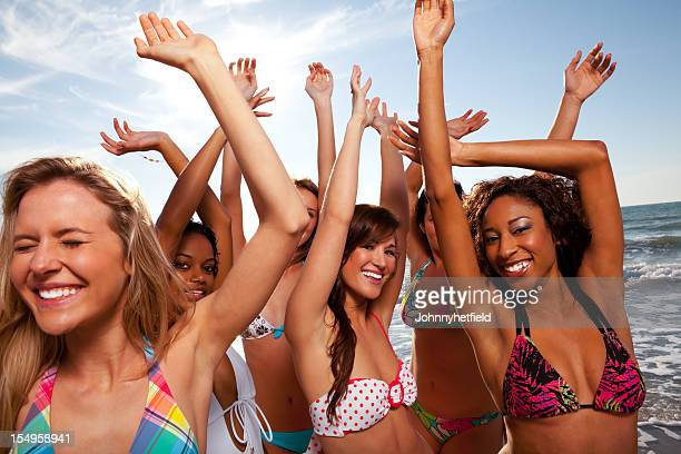 Group of multi ethnic friends having a party on  beach