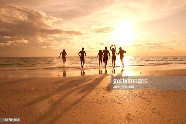 Grupo de amigos, divertir-se na praia