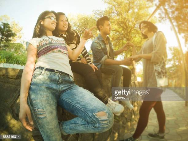 Group of multiethnic happy, leisurely college friends together in park.