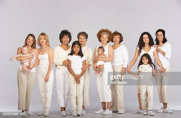 Group of multi-generational family, smiling, portrait