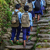 Group of Nepali school children in village in Annapurna Conservation Area. The Annapurna region is in western Nepal where some of the most popular treks (Annapurna Sanctuary Trek, Annapurna Circuit) a