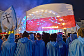A group of Nuns in raincoats during Tuesday evening concert in Krakow's Main Square due to the rain On Tuesday 26 July 2016 in Krakow Poland