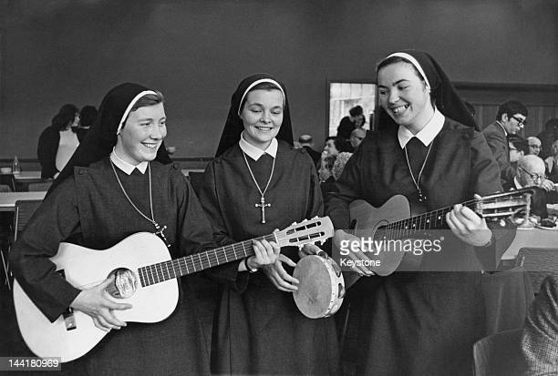 A group of nuns of the Order of Sion giving a concert for blind Jewish people at a day centre in Stamford Hill London 7th March 1966