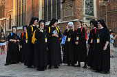 A group of Nuns pelgrims arrives in Krakow's main square Thousands of pilgrims from around the world arrive to Krakow on the eve of the World Youth...