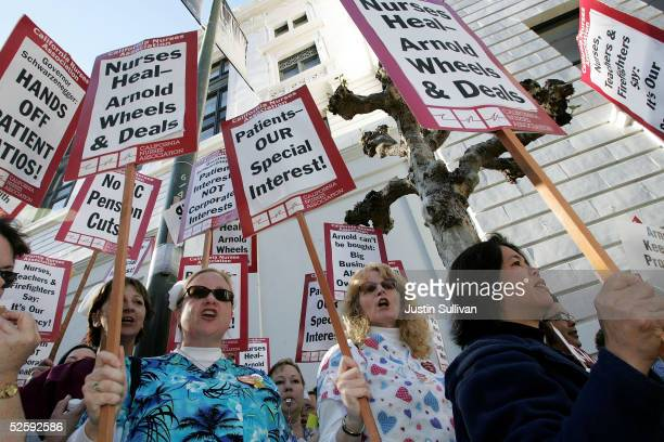 A group of nurses protest April 5 2005 during a demonstration outside a fundraising dinner for California Gov Arnold Schwarzenegger in San Francisco...