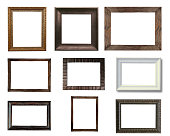 Close up group of old vintage wooden picture frame isolated on white with space use for texts or products display