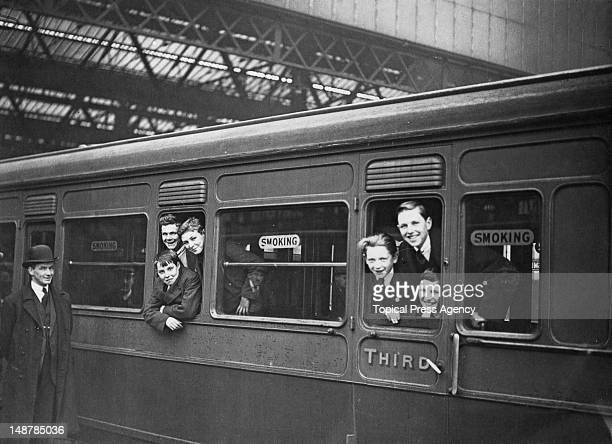 A group of orphaned boys from the Dr Barnardo's Homes leave Waterloo Station in London for a new life in Canada April 1923