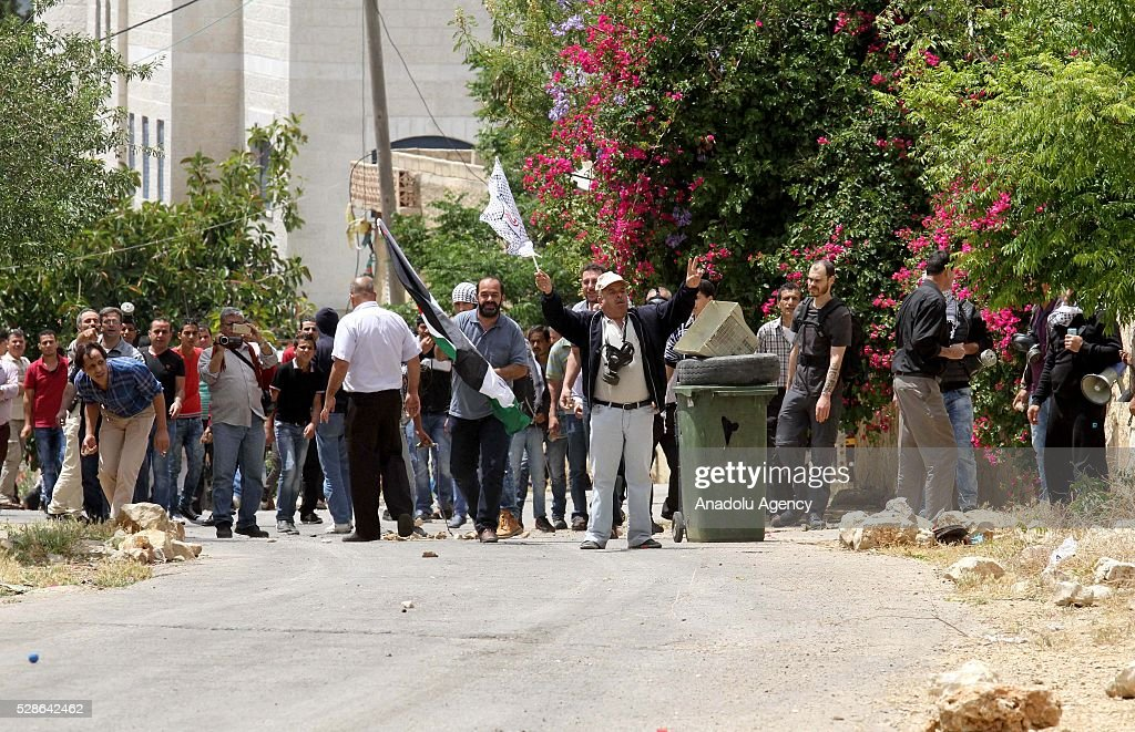 A group of Palestinians protest against the land expropriations by Israeli government at the village of Kafr Qaddum in the city of Nablus on the West Bank on May 6, 2016.
