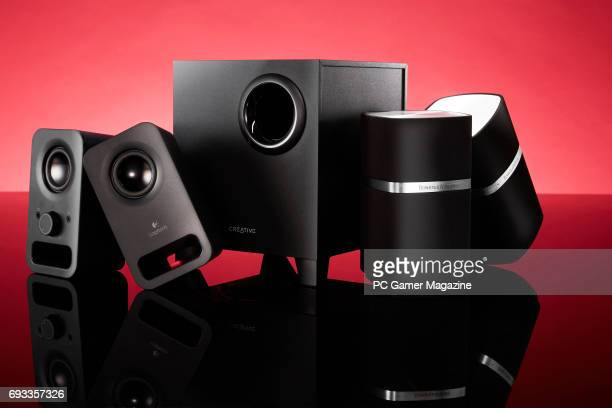 A group of PC speakers including Logitech Z150 Creative T3250 and Bowers And Wilkins MM1 taken on September 21 2016