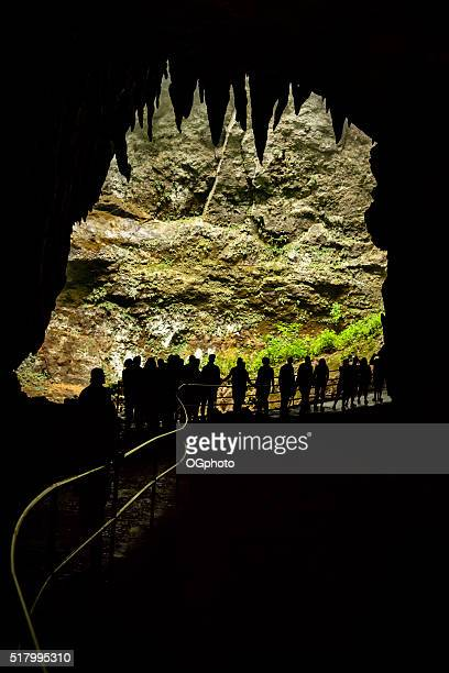 Group of people at a cave entrance.