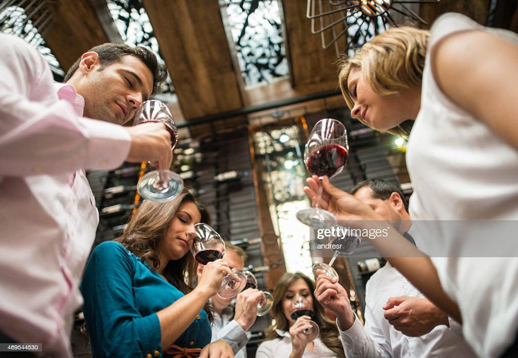 Group of people at a wine taste