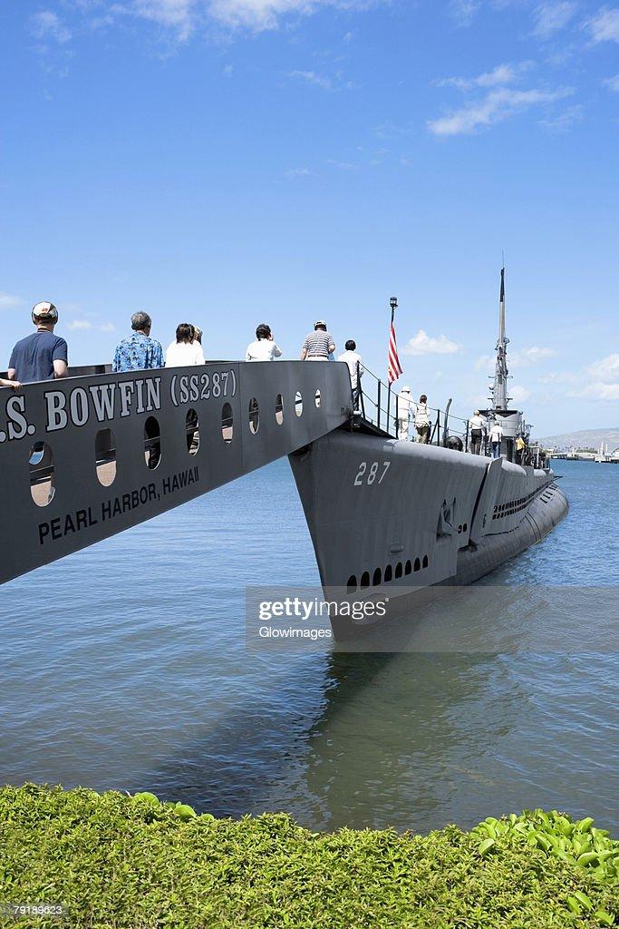 Group of people boarding on a military ship, USS Bowfin, Pearl Harbor, Honolulu, Oahu, Hawaii Islands, USA : Stock Photo
