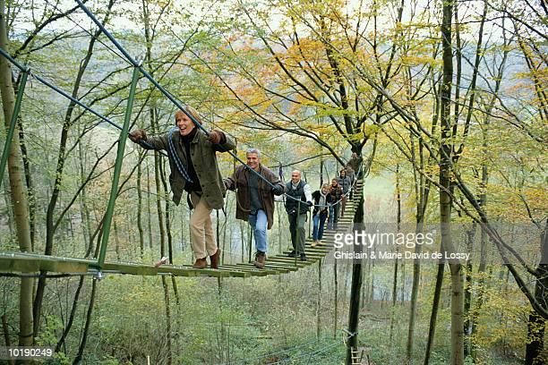 Group of people crossing rope bridge
