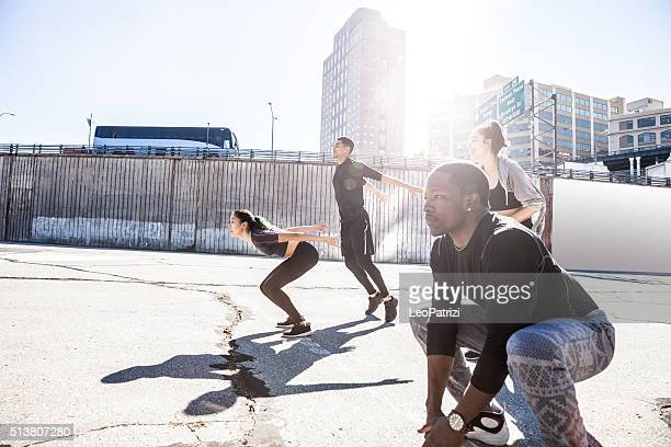 Group of people excercising in DUMBO - New York