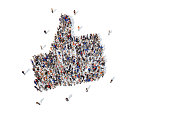 Large collection of people grouped together to form a thumbs up icon